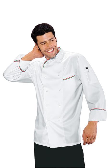 Giacca Cuoco Doppio Petto Panama Slim Bianco e Tricolore