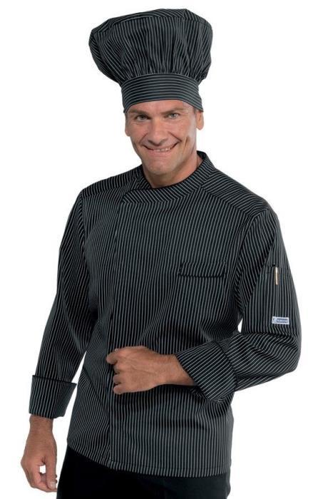 Giacca Cuoco Gessato Nero Isacco Modello Bilbao